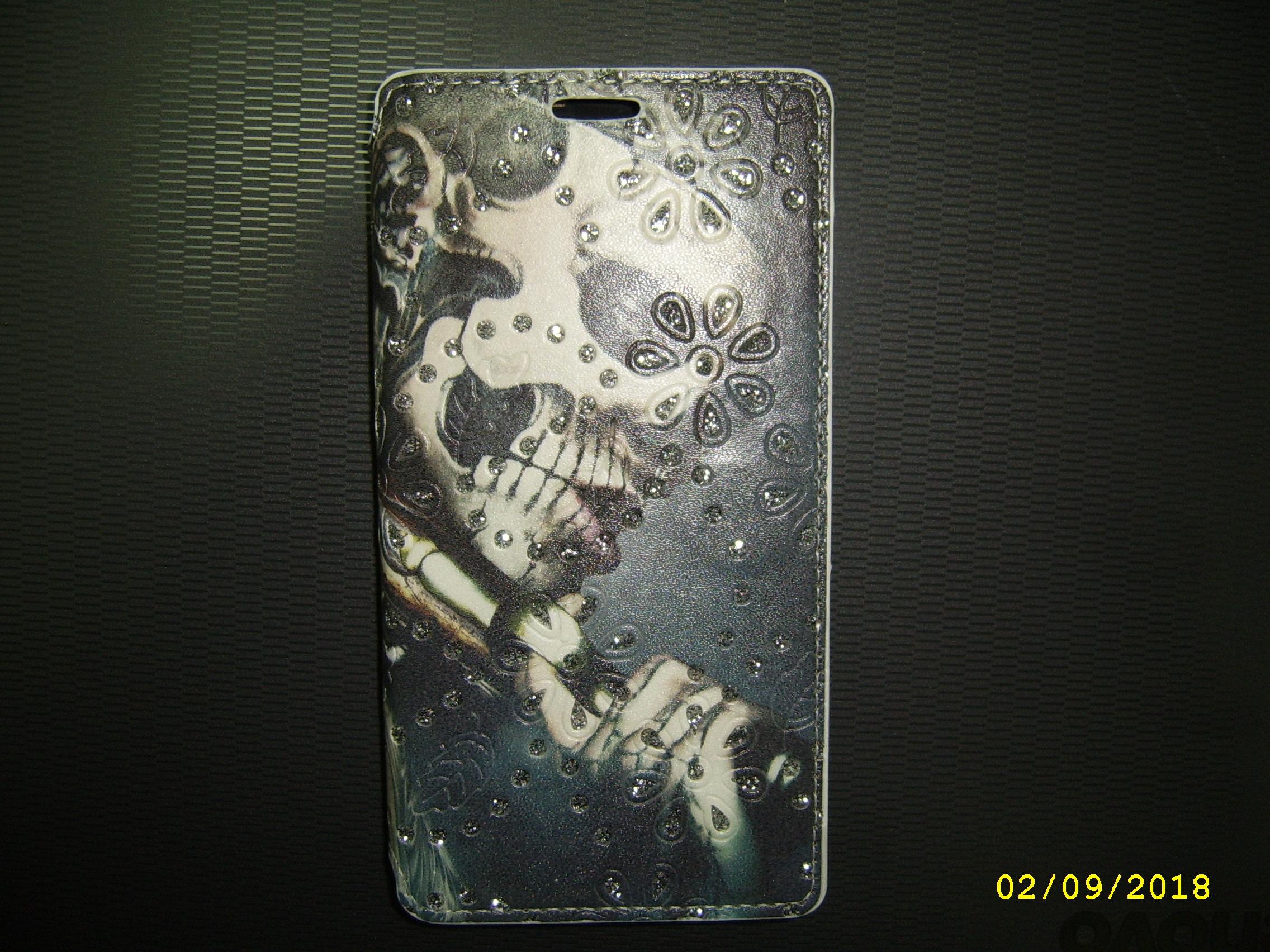 Tasche Huawei P8 Lite, Totenkopf mit Glitzer